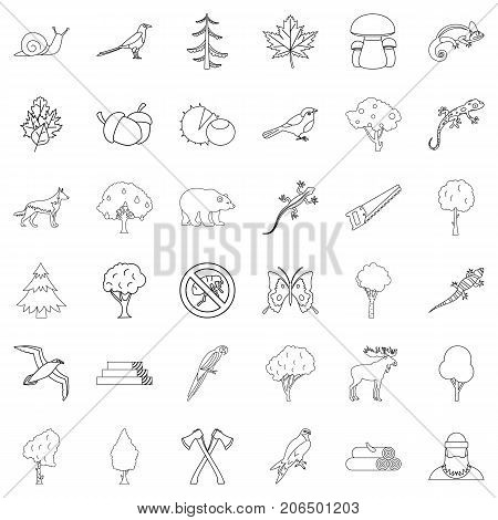 Bug icons set. Outline style of 36 bug vector icons for web isolated on white background