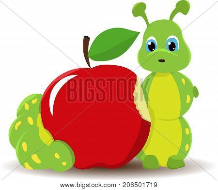 worm with red apple. Funny baby illustration. Isolated on white background. Vector