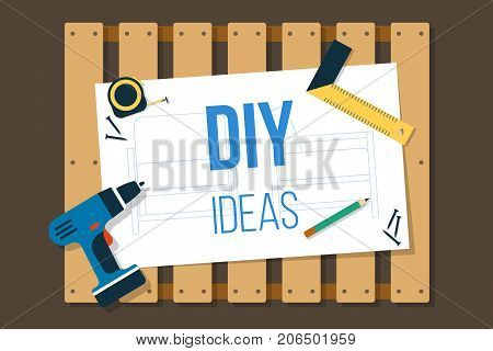 Vector DIY banner wooden pallet with tools and scheme on it. Flat style.