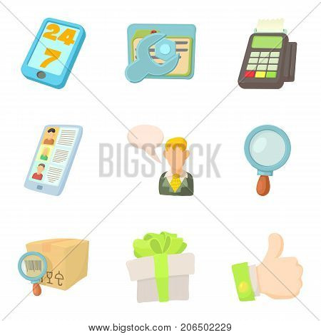 Disbursement icons set. Cartoon set of 9 disbursement vector icons for web isolated on white background