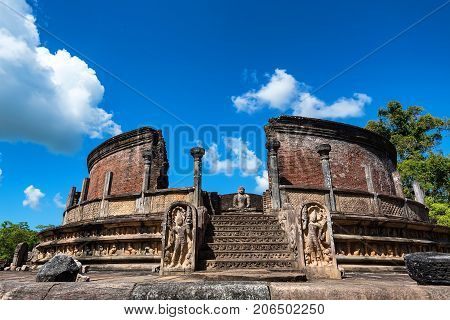 Vatadage or circular relic house in Polonnaruwa ruins. Unesco world heritage on Sri Lanka.