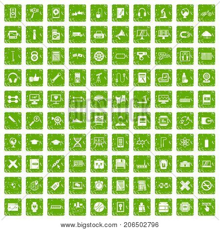 100 training icons set in grunge style green color isolated on white background vector illustration