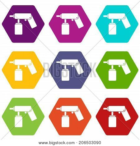 Spray aerosol can bottle with a nozzle icon set many color hexahedron isolated on white vector illustration