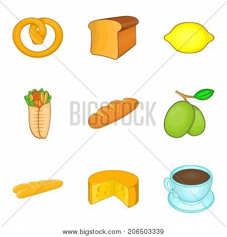 Tea with bun icons set. Cartoon set of 9 tea with bun vector icons for web isolated on white background