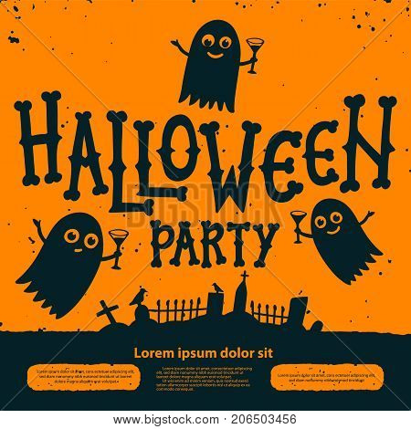 Halloween party invitation card. Halloween Party Invitation Flyer. Ghosts with cocktails at the cemetery on orange background. Halloween flyer with text Halloween party on a grunge texture. Editable Vector illustration