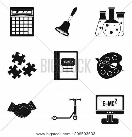 Scientific record icons set. Simple set of 9 scientific record vector icons for web isolated on white background