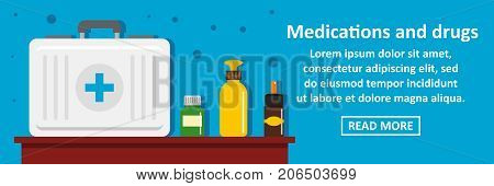 Medications and drugs banner horizontal concept. Flat illustration of medications and drugs banner horizontal vector concept for web design