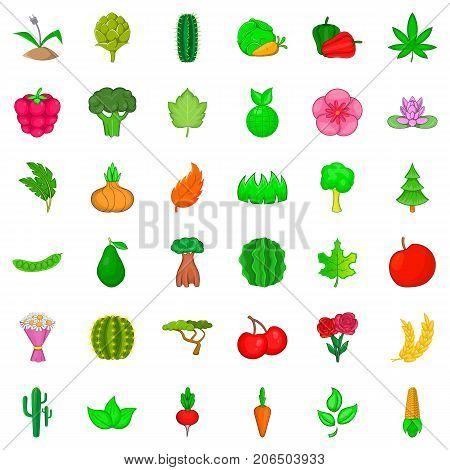 Botany icons set. Cartoon style of 36 botany vector icons for web isolated on white background