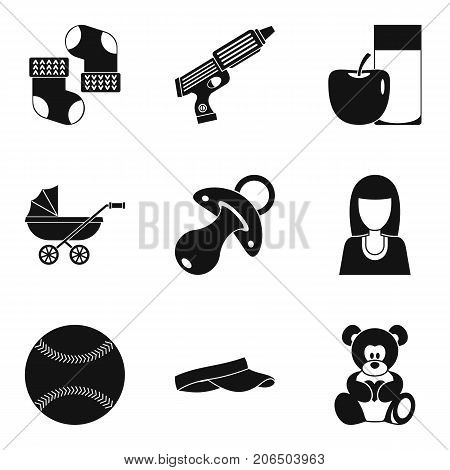 Care of newborn icons set. Simple set of 9 care of newborn vector icons for web isolated on white background