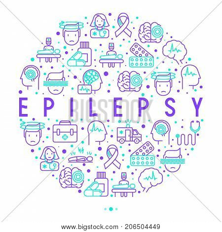 Epilepsy concept in circle with thin line icons of symptoms and treatments: convulsion, disorder, dizziness, brain scan. World epilepsy day. Vector illustration for banner, web page, print media.