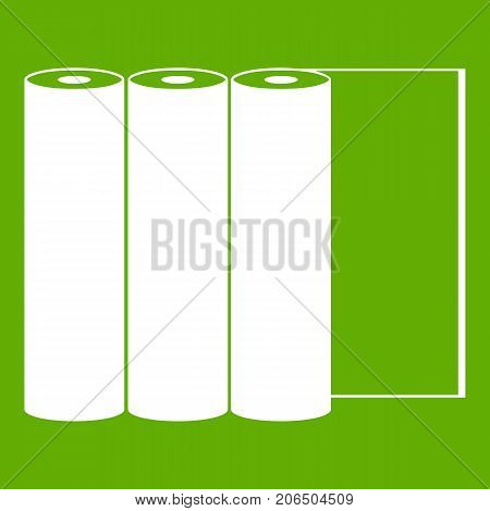Rolls of paper icon white isolated on green background. Vector illustration