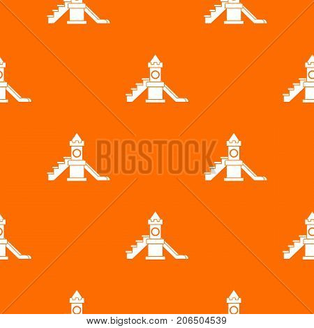Slider, kids playground equipment pattern repeat seamless in orange color for any design. Vector geometric illustration