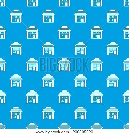 Two-storey house with sloping roof pattern repeat seamless in blue color for any design. Vector geometric illustration