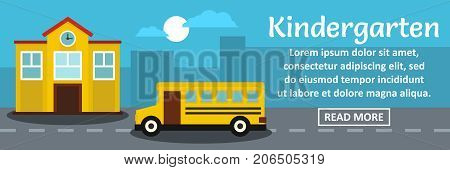Kindergarten banner horizontal concept. Flat illustration of kindergarten banner horizontal vector concept for web design