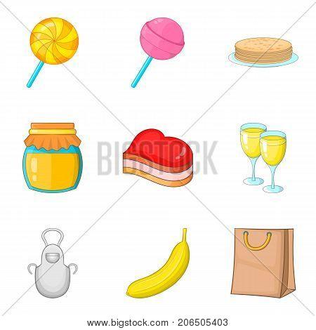 Romantic breakfast icons set. Cartoon set of 9 romantic breakfast vector icons for web isolated on white background