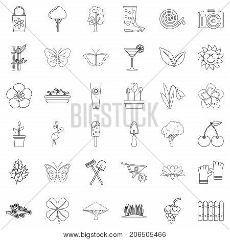 Clover icons set. Outline style of 36 clover vector icons for web isolated on white background