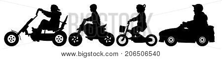 Children transport silhouette set vector. Child on a bicycle teenager on a bike ride. The boy in the children's car