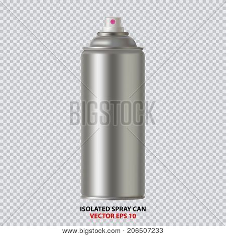White Paint Aerosol Spray Metal 3D Bottle Can, Graffiti, Deodorant, Household Chemicals, Poison. Front View. Illustration Isolated On White Background. Mock Up Template For Your Design. Vector EPS10 poster