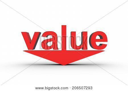 value down in the form of text arrow 3D illustration