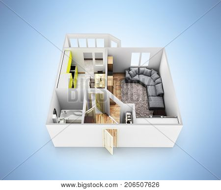 Interior Apartment Roofless Apartment Layout On Blue Gradient Background 3D Render