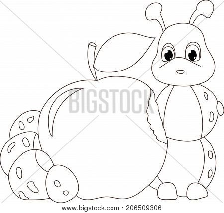 caterpillar worm with apple. Funny baby illustration. Isolated on white background. Coloring book. Coloration. Vector
