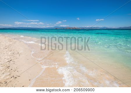 White sand beach in Kanawa Island Flores Sea East Nusa Tenggara Labuan Bajo Indonesia