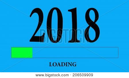 Progress Bar Loading With The Text: 2018