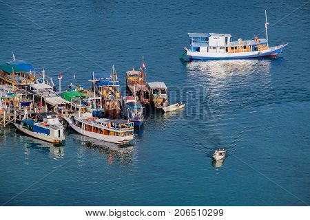 Boats Labuan Bajo Port in Flores Island East Nusa Tenggara Indonesia