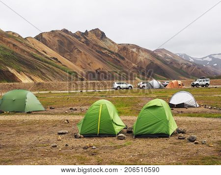 Tents in the pamping of the valley of the Landmannalaugar Iceland
