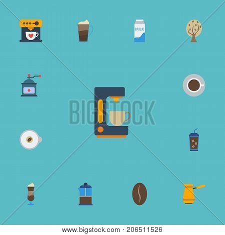 Flat Icons Paper Box, Beverage, Coffeemaker And Other Vector Elements