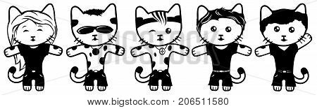 Five different vector black and white dressed kittens.