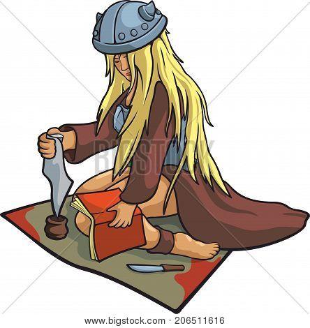 Nice vector blonde girl viking healer in funny helmet.