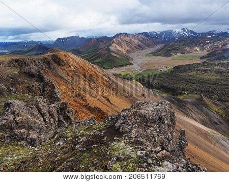 Colorful mountains in the Landmannalaugar valley, Iceland