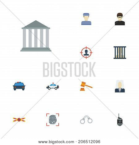 Flat Icons Manacles, Building, Walkie-Talkie And Other Vector Elements