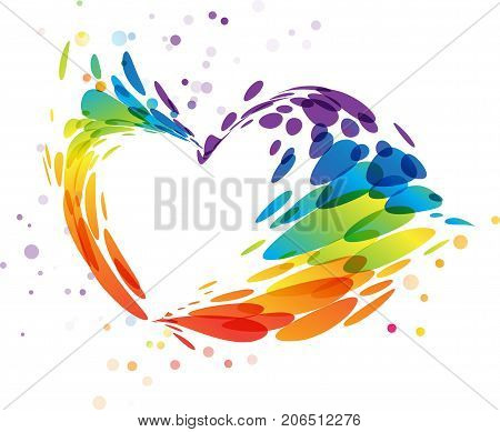 Colored abstract splashes heart on white background
