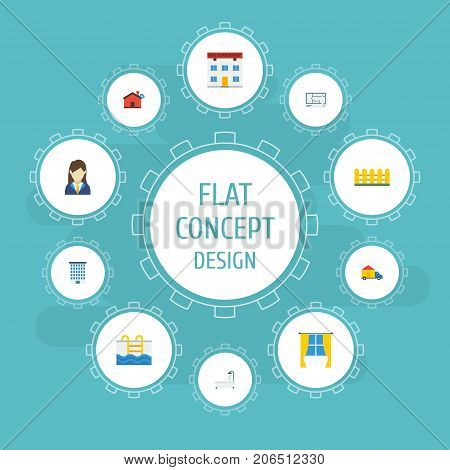 Flat Icons Hypothec, Real Estate, Truck And Other Vector Elements