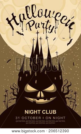 Vector banner for Halloween party with horrid face and an old Gothic castle in the cemetery on the background of the full moon
