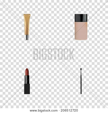 Realistic Collagen Tube, Concealer, Pomade And Other Vector Elements