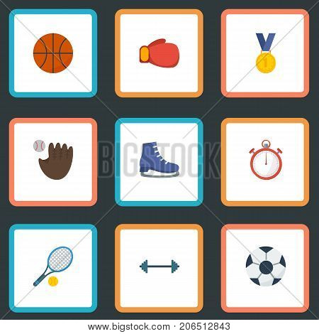 Flat Icons Second Meter, Ball, Glove And Other Vector Elements