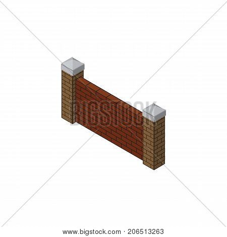 Barrier Vector Element Can Be Used For Brick, Wall, Barrier Design Concept.  Isolated Brick Wall Isometric.