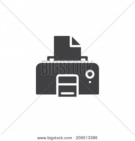 Printer with paper icon vector, filled flat sign, solid pictogram isolated on white. Symbol, logo illustration.