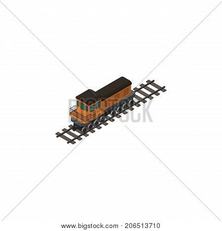 Train Vector Element Can Be Used For Train, Locomotive, Railway Design Concept.  Isolated Locomotive Isometric.