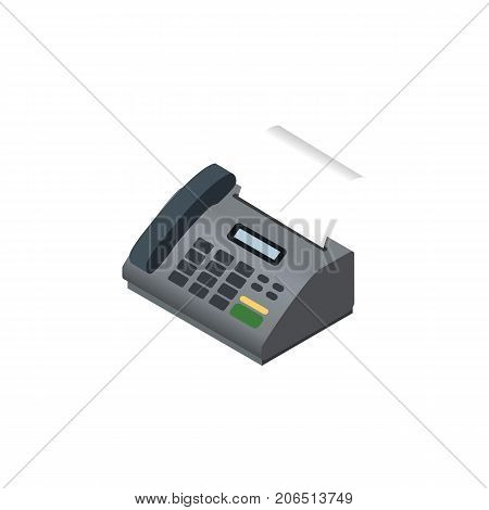 Office Phone Vector Element Can Be Used For Fax, Telephone, Telefax Design Concept.  Isolated Fax Telephone Isometric.
