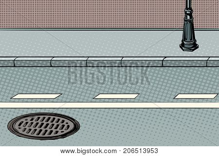 City street with sidewalk and manhole. Pop art retro vector illustration
