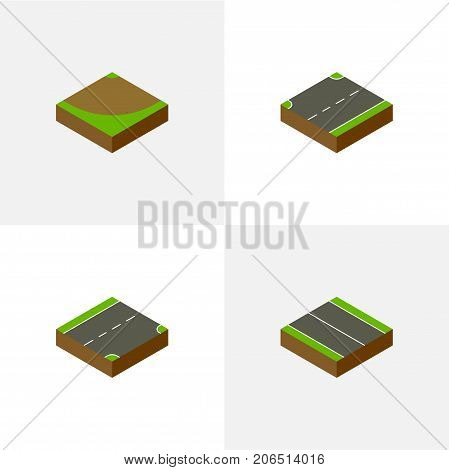 Isometric Road Set Of Upwards, Turn, Down And Other Vector Objects
