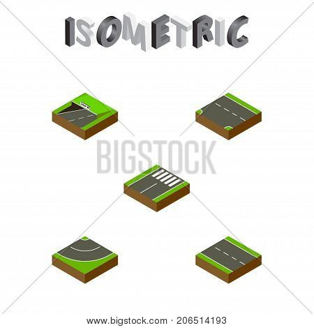 Isometric Way Set Of Downward, Road, Single-Lane And Other Vector Objects