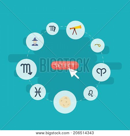 Flat Icons Virgin, Zodiac Sign, Comet And Other Vector Elements