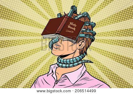 religious fanatic man. Pop art retro vector vintage illustrations