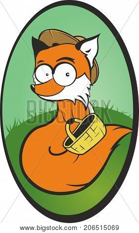 Funny vector fox mushroomer with basket and long fluffy tail.