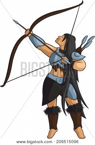 Vector beautiful woman archer with longbow and arrows.